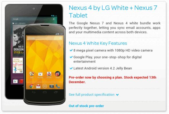 White Nexus 4 Bundle Talk Talk