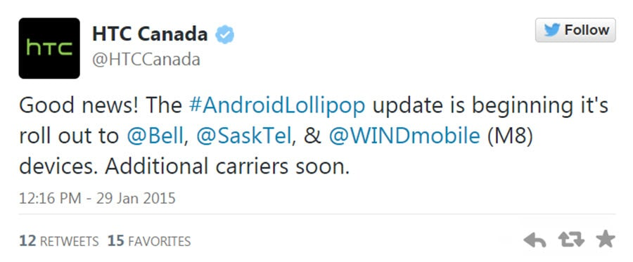 HTC One M8 Lollipop Update