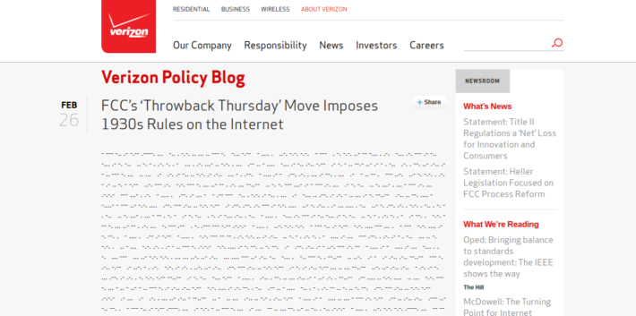 """Verizon Respond To """"1930s"""" FCC Net Neutrality Ruling By Issuing Morse Code Press Release"""