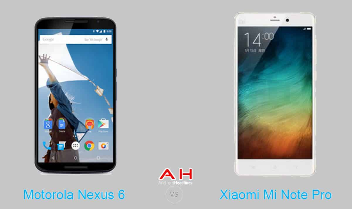Xiaomi Mi Note Pro vs Motorola Nexus 6 cam AH2