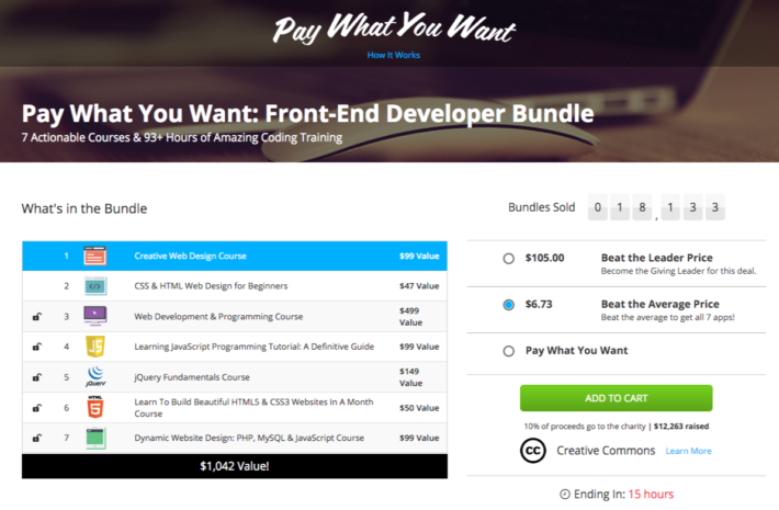 Pay What You Want for 7 Front-End Web Development Courses and Donate to Charity!
