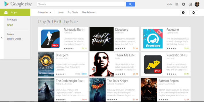 Google Play Offering A Total of 33 Apps, Games, Books And Movies To Celebrate Google Play's 3rd Birthday